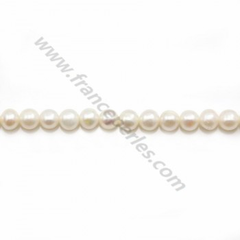 Round white freshwater pearls on thread 4-5mm x 40cm
