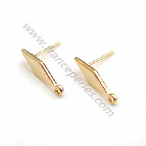 "Ear stud leaves veneer by ""flash"" Gold on brass 8*14mm x 2pcs"
