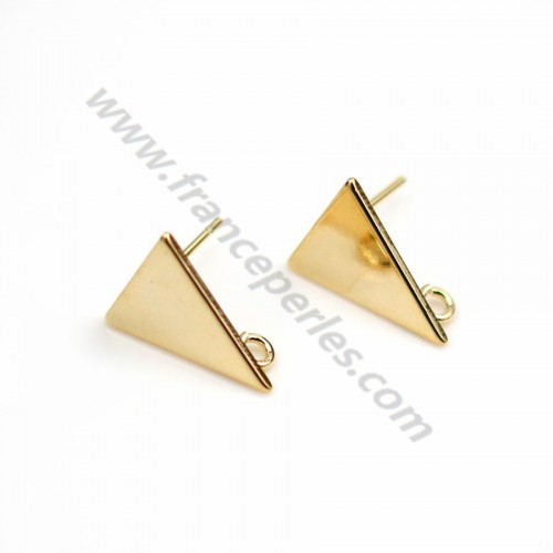"""Clous d'oreille triangle 12*15mm, plaqué par """"flash"""" or sur laiton x 2pcs"""