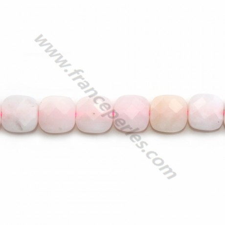 Opal pink faceted square shape 8mm x 4 pcs