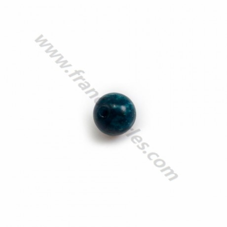 Apatite, in blue color, half drilled, round 6mm x 4pcs