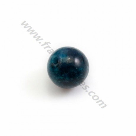Apatite, in blue color, half drilled, round 10mm x 2pcs