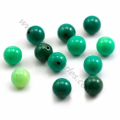Round green grass agate 10mm, semi-drilled x 12pcs