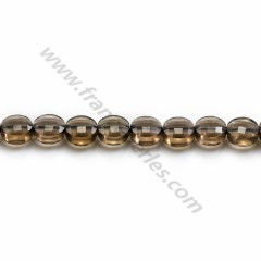Smoky quartz faceted flat round 7mm x 39cm