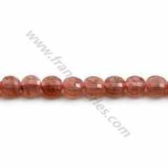 "Quartz ""strawberry"", in round flat faceted shape, 6mm x 39cm"