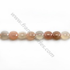 Moon Stones in round faceted flat shape, 6mm x 39cm