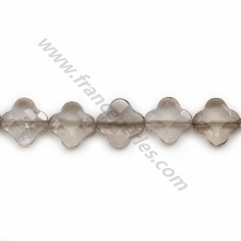 Smokey quartz clover  faceted 13 mm X 40cm