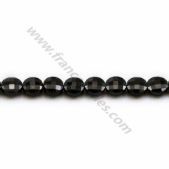 Black spinelle in shape of flat round faceted 6mm x 39cm