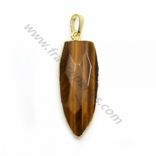 Tiger Eye pendant, in the shape of a pointed drop, set in gold metal, 15*35mm x 1pc