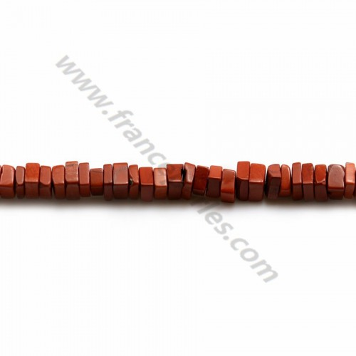 Red jasper, square washer shape, 2.5*4.5mm x 38cm