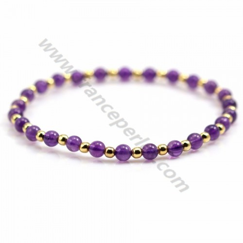 Bracelet lapis lazuli 4mm with golden pearl x 1pc