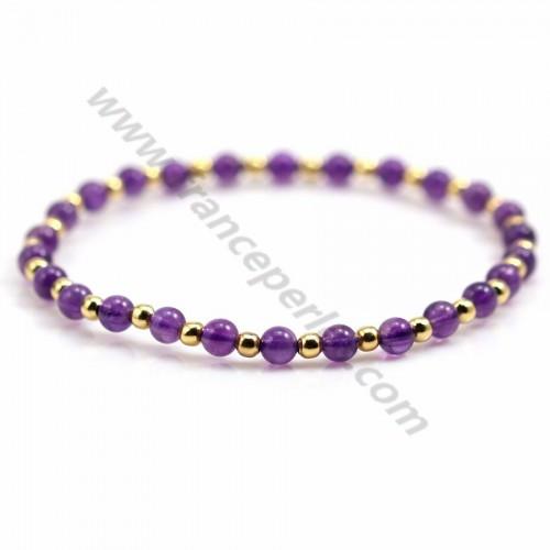 Bracelet améthyste  4mm, avec perles dorées x 1pc