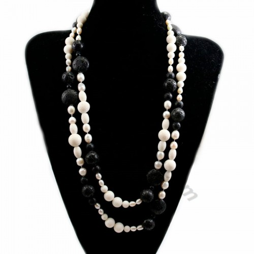 Lava stone and freshwater pearl necklace 140cm