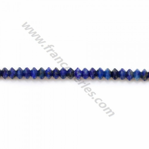 Lapis lazuli, faceted abacus washer, 2*3mm x 20pcs