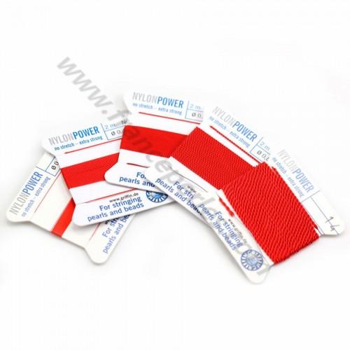 Fil power nylon avec aiguille inclus, de couleur rouge x 2m