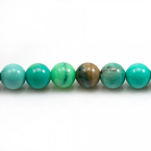 """""""Agate grass"""" in green color, in round faceted shape, 8mm x 39cm"""
