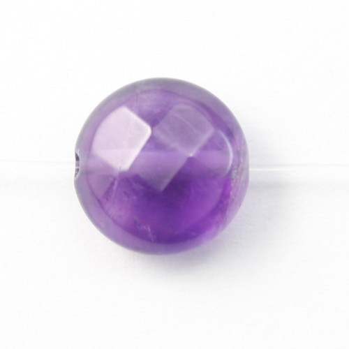 Amethyst Faceted Flat Round 8mm X 5 pcs